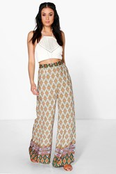 Boohoo Boho Border Print Wide Leg Trousers Orange