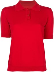 Maison Martin Margiela Knitted Polo Top Red