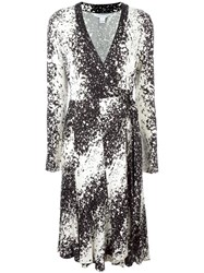 Diane Von Furstenberg Splatter Print Wrapped Dress Black
