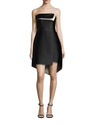 Halston Strapless Silk Blend Structure Dress Black Champagne