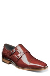 Stacy Adams Tayton Cap Toe Double Strap Monk Shoe Cognac Leather