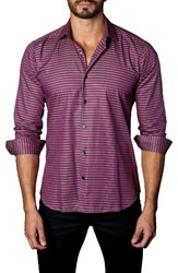 Jared Lang Men's Trim Fit Gingham Sport Shirt Dark Blue Red Plaid