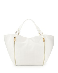 Neiman Marcus Perforated Slouchy Tote Bag White