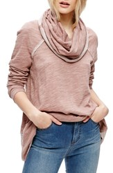 Free People Women's 'Beach Cocoon' Cowl Neck Pullover Rose