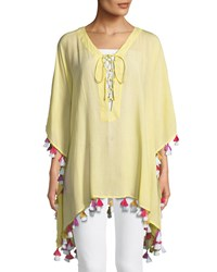 Bindya Lace Up Tunic With Tassels Yellow