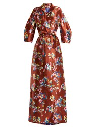 Delpozo Notch Lapel Floral Print Silk Gown Brown Multi
