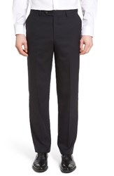 Berle Men's Flat Front Solid Wool Trousers Navy