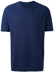 Zanone Plain T Shirt Men Cotton 54 Blue