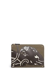 Valentino 'Rockstud' Panther Patch Canvas Document Case Green