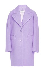 Carven Boiled Wool Cocoon Coat Purple