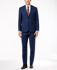 Vince Camuto Men's Slim Fit Stretch Solid High Blue Wool Suit