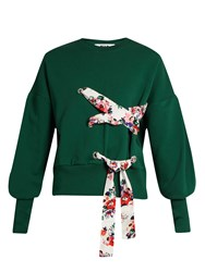 Msgm Lace Up Front Cotton Jersey Sweatshirt Green
