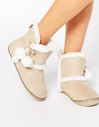 Totes Suedette Pom Pom Bootie Slippers Natural