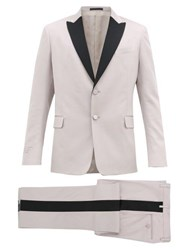 Valentino Single Breasted Wool Blend Crepe Suit Black Pink