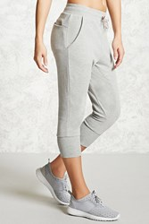 Forever 21 Active Graphic Capri Joggers Heather Grey Pink