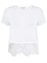 Miss Selfridge Lace Split Back T Shirt Ivory
