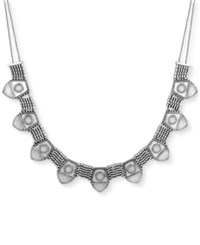 Lucky Brand Silver Tone Mesh And Stone Collar Necklace