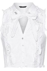 Marissa Webb Callan Dickie Corded Lace Trimmed Ruffled Cotton Canvas Top White