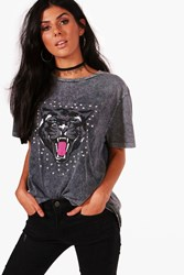 Ria Acid Wash Studded Print Tee