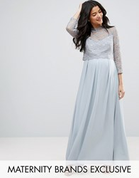 Queen Bee Lace Bodice Maxi Dress With Pleated Chiffon Skirt Grey Silver