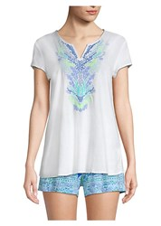 Lilly Pulitzer Embroidered Tunic Top Resort White