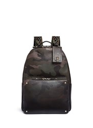 Valentino 'Rockstud' Camouflage Print Leather Backpack Green