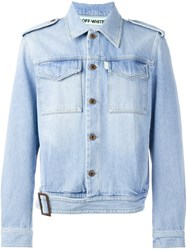 Off White Military Denim Jacket Blue