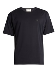 Acne Studios Niagra Face Patch Cotton T Shirt Navy