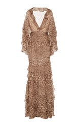 J. Mendel Tiered Ruffle Cape Gown Animal