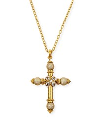 Jose And Maria Barrera Crystal Cross Pendant Necklace Gold