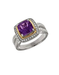 Lord And Taylor Amethyst White Topaz Sterling Silver 14K Yellow Gold Ring Purple