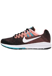Nike Performance Air Zoom Structure 20 Stabilty Running Shoes Black White Lava Glow Chlorine Blue