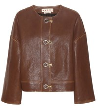Marni Leather Jacket Brown