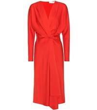 Victoria Beckham Long Sleeve Crepe Dress Red