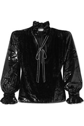 Saint Laurent Pussy Bow Crystal Embellished Metallic Velvet Blouse Black