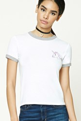 Forever 21 Unicorn Graphic Ringer Tee White Purple