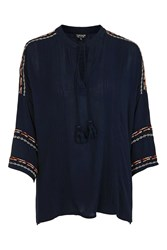 Topshop Long Sleeve Embroidered Tunic Navy Blue