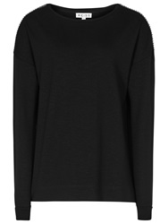 Reiss Molly Sparkle Trim Jersey Top Black