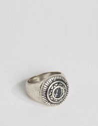 Asos Embellised Signet Ring With Turquoise Look Stone Silver