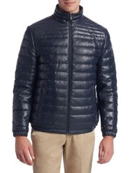 Saks Fifth Avenue Collection Down Filled Leather Puffer Jacket Navy
