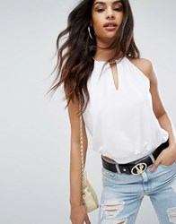 Versace Jeans Chain Detail Cut Out Top White