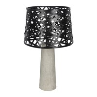 Amara Woven Bamboo And Concrete Lamp Black