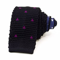 40 Colori Night Blue Embroidered Triangles Silk Knitted Tie