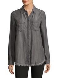 Beach Lunch Lounge Frayed Trimmed Shirt Grey