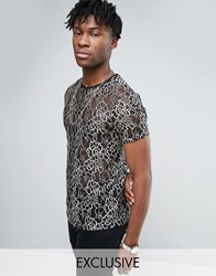 Reclaimed Vintage Lace T Shirt Black