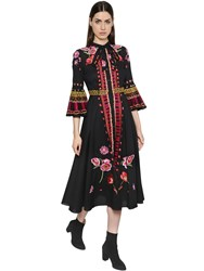 Temperley London Floral Embroidered Cotton Gauze Dress