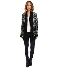 Bb Dakota Easton Fair Isle Pattern Cardigan Black Women's Sweater