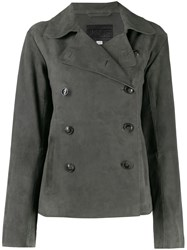 Closed Double Breasted Fitted Jacket Grey
