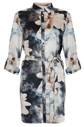 Quiz Satin Flower Print Shirt Dress Multi Coloured