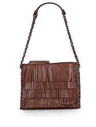 Sondra Roberts Fringed Faux Leather Shoulder Bag Brown